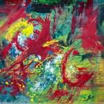 Le climat s'emballe 2 2012 - acrylique sur papier marouflé sur panneau - 24X24po.